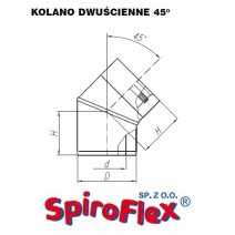 Kolano TURBO SPIROFLEX 60/100/45° dwuścienne